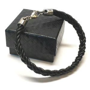 Men's Black Braided Leather Bracelet